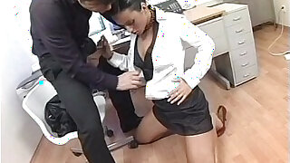 Brunette gets fucked in the ass by her boss