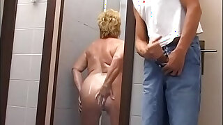 Mature chubby woman attacked and fucked in the gym shower