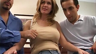 Double penetration with busty wife