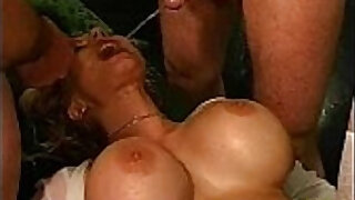 Hot blonde gets pissed on in reality groupsex