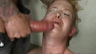 Tied up blonde gangbanged and cummed
