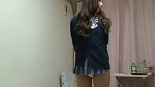 Naked Japanese Madoka wears a Miniskirt School Uniform