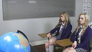 Four coeds sucking one dick at school