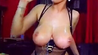 Horny Slut playing With Double D Tits Gagging on a Dildo