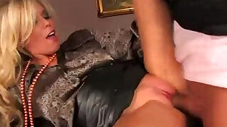 Classy blonde hoe gets cumshot on her hot tits