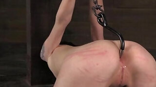 Anal hooked submissive being punished