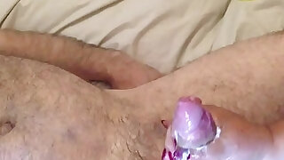 Wife plays with red nails full handjob milking huge cumshot