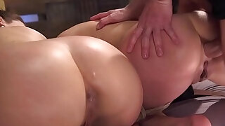 Guy puts two babes in bondage anal sex