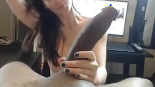 Beautiful white lady serves big black cock