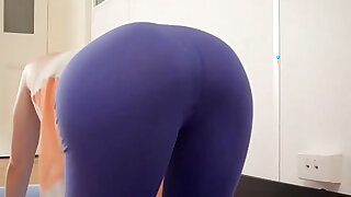 Hot yoga girl toys her meaty pussy