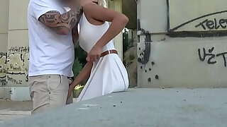 Public agent cherry kiss given an anal and creampie in public
